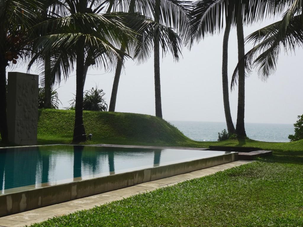 The lovely pool view at the Frangipani tree hotel, Thalpe, Sri Lanka