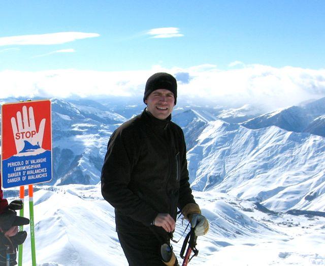 A top the ski lift in Gudauri.